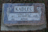 Gravestone of Aldrich & Rose Kadlec
