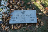 Gravestone of Betty A. King
