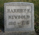 Gravestone of Harriet E Newbold