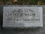 Gravestone of Mary P. Miller