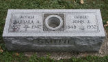 Gravestone of Barbara A. & John J. Smith