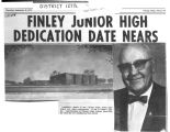 Newspaper photographs of Elden D. Finley and an architect's sketch of Finely Junior High, 1970