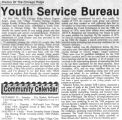 Newspaper article on the history of the youth services bureau, 2001