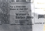 Watson's Barber Shop advertisement, 1886