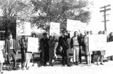 Protest during visit by T. Kennedy, Douglas and A. Stevenson III