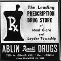 Advertisement for Ablin Rexall Drugs