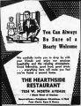 Advertisement for Hearthside Restaurant
