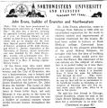 """Northwestern University and Evanston, Through the Yeats...John Evans, Builder of Evanston..."