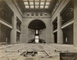 Field Museum construction site photograph -- interior view of the partially completed main...
