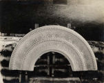 Field Museum construction site photograph -- detail view of marble tile for interior archway,...