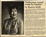 1983.2.Faculty.1 Posthumous Award Made by Hospital to Maxine Smith