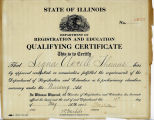 1926.16.1 State of Illinois Department of Registration and Education Qualifying Certificate
