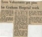 197-.2.Volunteers.1 Teen volunteers get pins for Graham Hospital work