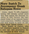 194-.2.Alumni.63 Mary Susich to accompany Greek refugees home.