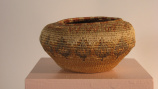 Inuit or Athabskan coiled basket (mid 20th C)
