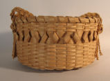 Iroquois? round basket with lid and braided handle (mid 20th C)