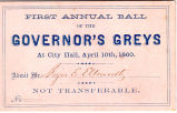 Governor's Greys First Annual Ball Ticket, 1860