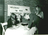 Registration table at the Centennial Celebration, Ferry Hall, 1969