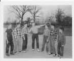 Boys Doing Shot Put at Crestwood School 1950s