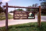 Hononegah Forest Preserve entrance sign