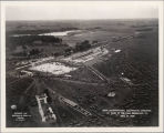 aerial photograph of Mundelein train terminal and parking for Eucharistic Procession