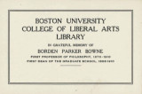 Boston University College of Liberal Arts Library, Borden Parker Bowne