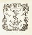 Ex libris Aldis anchor armorial with 3 point label