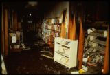 A view of fire and water damage resulting from the April 19, 1989 firebombing of the Joliet Public...