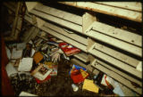 Books and bookshelves damaged as a result of the April 19, 1989 firebombing of the Joliet Public...