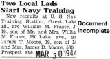"""Two Local Lads Start Navy Training"" (Document Incomplete)"