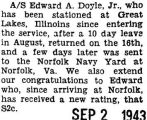 After a ten day leave from Great Lakes, was sent to the Norfolk Navy Yard