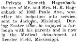 At Easter, Kenneth was home on furlough and then sent to Kessler Field, Mississippi