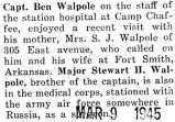 Ben Walpole's mother visited him and his wife at Fort Smith, Arkansas