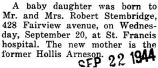 Birth announcement of a daughter born to Mr. and Mrs. Robert Stembridge