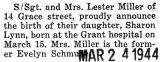 Birth announcement of a daughter born to Staff Sergeant and Mrs. Lester Miller