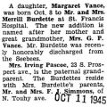 Birth announcement of a daughter, Margaret Vance, to Mr. and Mrs. Merrill Pascoe