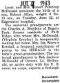 Birth announcement of a son born at Edgewater hospital to Robert McDonald and his wife (Document...