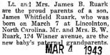Birth announcement of a son born to James Ruark and his wife