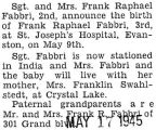 Birth announcement of Frank Raphael Fabbri 3rd