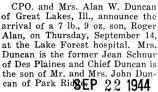 Birth announcement of Roger Alan Duncan
