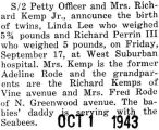 Birth announcement of twins for Mr. and Mrs. Richard Kemp Jr.