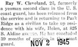 Cleveland was released from service as a yeoman second class