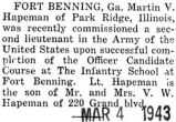 Commissioned a second lieutenant in the Army at Fort Benning, Georgia