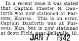 Correction made on article that Captain Danforth was at Parsons, Kansas