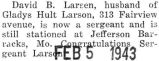 David Larson was promoted to sergeant and stationed at Jefferson Barracks, Missouri