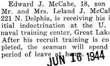 Edward McCabe received indoctrination at the U.S. naval training center at Great Lakes (Document...
