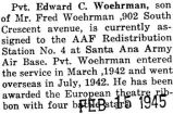 Edward Woehrman was assigned to the AAF Redistribution Station at the Santa Ana Army Air Base