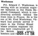 Edward Woehrman was honorably discharged from the Army Air Force (Document Incomplete)