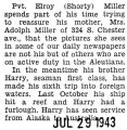 Elroy (Shorty) Miller assured his mother that he was safe in the Aleutian Islands