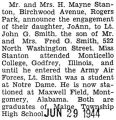 Engagement announcement of Joann Stanton to Lieutenant John Smith